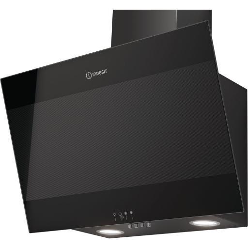indesit ihvp 6 6 lm k 60cm angled chimney cooker hood black. Black Bedroom Furniture Sets. Home Design Ideas